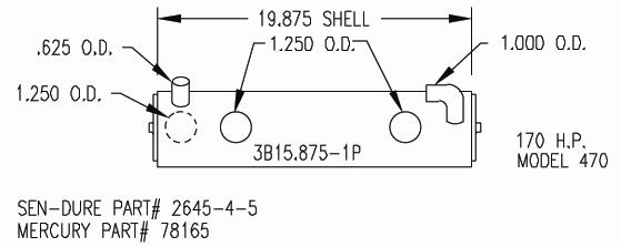 Sk Mer 78165 Heat Exchanger Mercruiser 470 Inboard By Seakamp