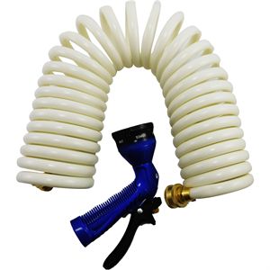Whitecap P-0441 White Coiled Hose & Spray Nozzle 25 ft